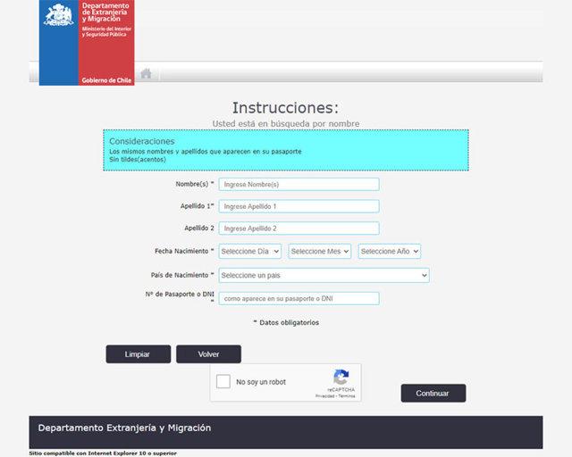 Cómo revisar el estado de la solicitud con el nombre del solicitante